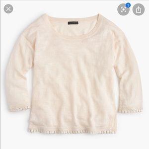 J. Crew Linen Sweater With Pom Pom Trim